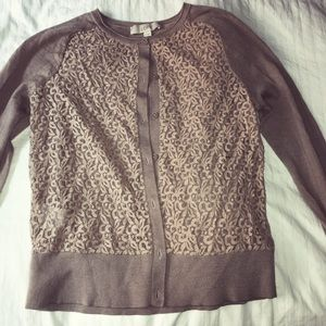LOFT MAUVE LACE CARDIGAN SWEATER SIZE MEDIUM